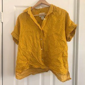 Yellow & white polka dot crop top